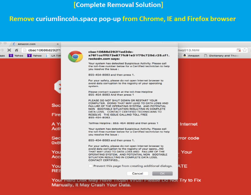 Solution] Remove curiumlincoln space pop-up from Chrome, IE