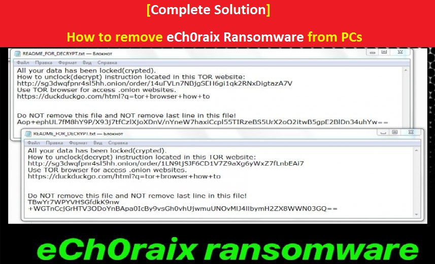 How to remove eCh0raix Ransomware from PCs | PC Virus Care